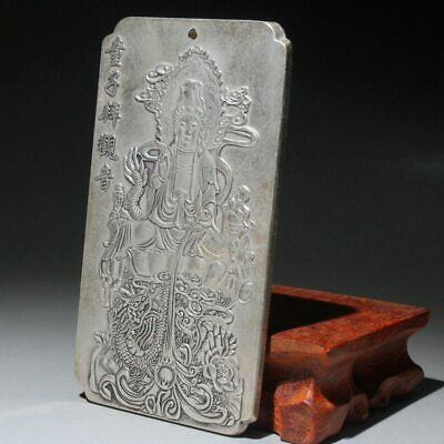 Collectable Old Miao Silver Handwork Carve Kwan-yin Buddhism Exorcism Pendant