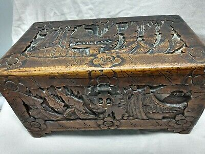 Vintage/Antique Chinese Asian Hand Carved Wood Document/ Jewelry Box Just $199!