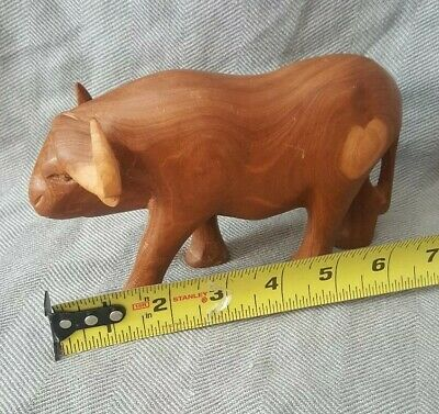 Wooden Carved Oxen Or Water Buffalo, Beautiful Grain!