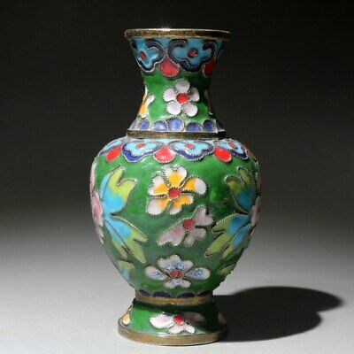 Collectable China Cloisonne Handwork Carve Flowers Beautiful Delicate Noble Vase