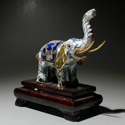Collectable China Wood Cloisonne Hand-Carved Elephent Bring Auspicious Statue