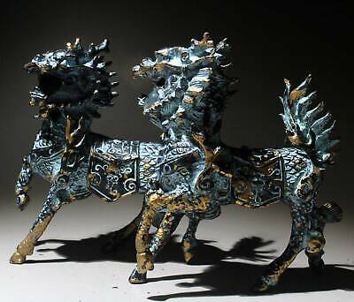 Collectable Chinese Bronze Copy Gold Hand-Carved A Pair Kirin Auspicious Statue