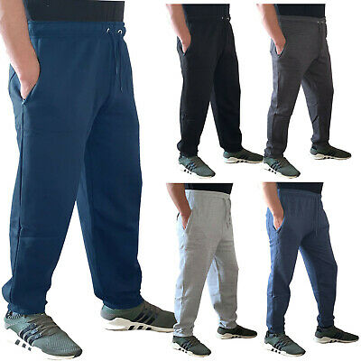 Mens Fleece Plain Tracksuit Jogging Bottoms Joggers Work Track Trousers Pants