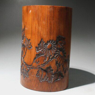 Collectable Chinese Old Boxwood Hand-Carved Flowers Delicate Beautiful Brush Pot