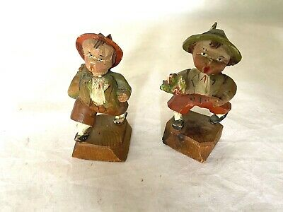 Lot of 2 Vintage Carved Figures from Switzerland