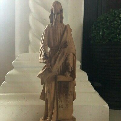 Moses, 10 Commandments,  Hand Carved,  Spirtual Wooden Statue 13.5 inches tall