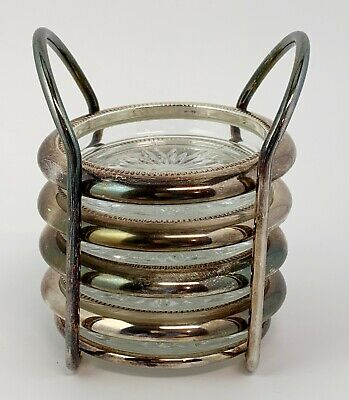 Silverplate Glass Coasters with Holder Vintage