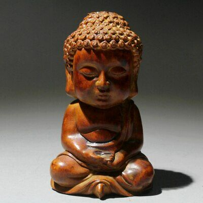 AAA Collectable Chinese Old Boxwood Handwork Carve Lovely Buddha Buddhism Statue