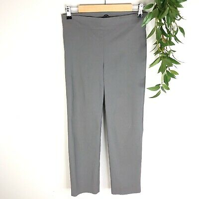 Avenue Montaigne Career Pants Womens Size 8 Gray Cropped Straight Leg Pull On