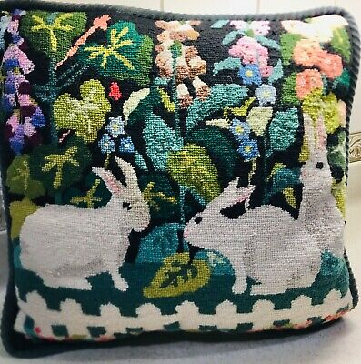 "EXCELLENT! Vintage Needlepoint BUNNY RABBIT Floral 14"" Pillow"