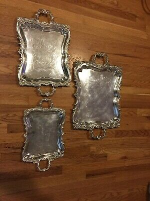 Vintage Set Of 3 Solid 915 Spanish Silver Sterling Trays!