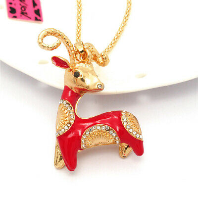 New Betsey Johnson Lovely Red Enamel Goat Sheep Crystal Pendant  Woman Necklace