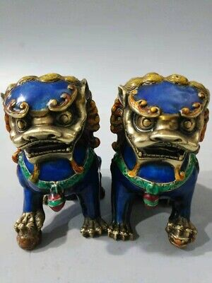 A Pair Old Chinese Cloisonne Copper Lion Foo Dog Statue