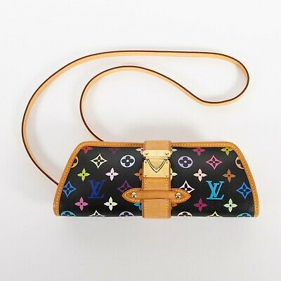 Authentic LOUIS VUITTON Takashi Murakami Black Multicolor Shirley Clutch