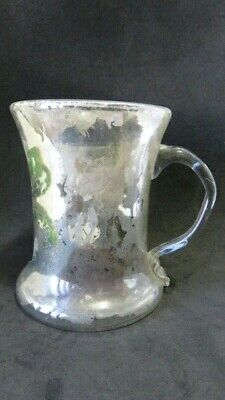 Antique Victorian Mercury Glass Blown Glass Hand Painted Glass Cup Mug