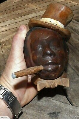 BLACK AFRICAN French MAN in Top Hat smoking CIGAR Artist SIGNED Self Portrait?