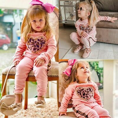 Toddler Kids Baby Girl Clothes Leopard Tops Pants Leggings Outfits Tracksuit