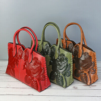 Women Vintage Leather Handbag Embossed Peony Chinese Style Shoulder Bag