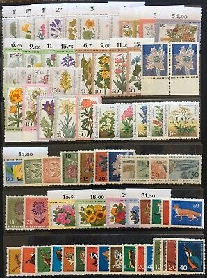 Germany (Bund) 1950s-1980s Flora & Fauna themed issues Mostly MNH