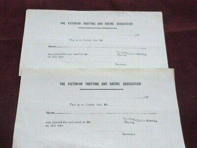 Circa 1920's The Vic. Trotting And Racing Sport Association .2 Race Entry Forms.