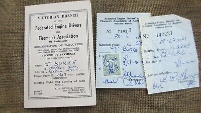 1961 Vic Branch Federated Engine Drivers/Firemen's Assoc Payment Records/Reciept