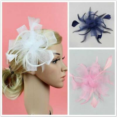 Wedding Prom Races Satin Feather Flower Net Headband Hair Fascinator Side Accent