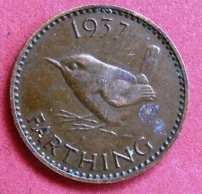 Great Britain Scarce King George Vi 1937 Wren Farthing Coin Birthday - Date Gift