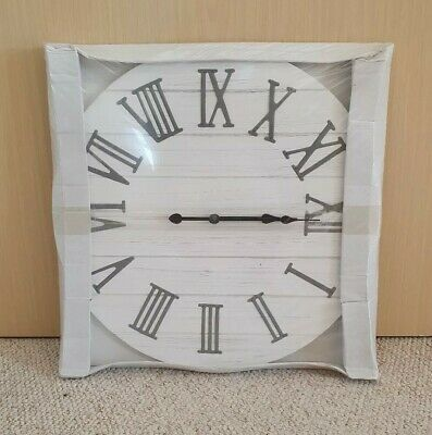 Large White Washed Wooden Wall Clock with Metal Roman Numerals 50cm