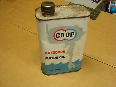 Vintage Rare Advertising CO-OP Man Cave Outboard Motor Oil Gas Quart Metal Can