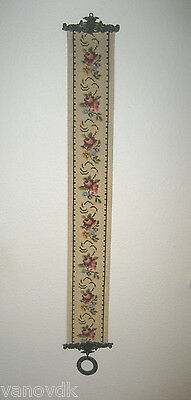 Victorian Petite Point Needlepoint Tapestry Bell Pull with Brass Hardware #10