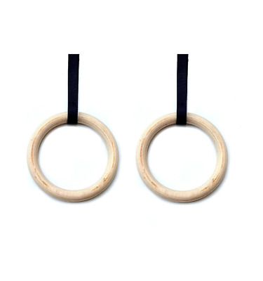 2x Gymnastic Rings - Home exercise strength fitness - Wood handle - Adjustable