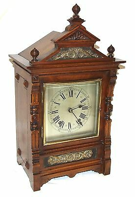 * Antique Oak & Brass TING TANG Bracket Mantel Clock : CLEANED & SERVICED (a60)