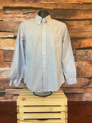 Brooks Brothers Men's Gray Blue, White Striped Long Sleeve Button Shirt Med