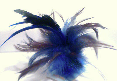 Blue Feather Fascinator with Forked Clip and Brooch Pin Fitting