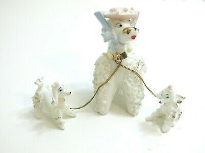 Vintage White Spaghetti Mom Poodle With Her 2 Pups Set With Pink Hat By Arnart