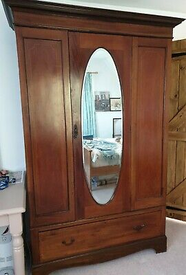 Vintage wardrobe with mirror and large single drawer