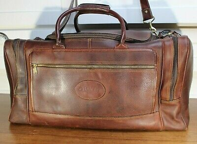 ORVIS Dark Brown Leather Duffle Bag, Luggage 3 Zip Comprtmnts, Mono K,  26x12x12