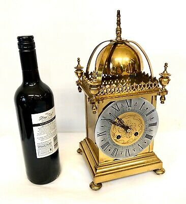 * Large Antique French Brass Lantern Clock by S. MARTI ET CEI