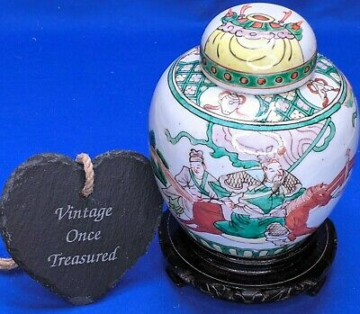 "Vintage Chinese Porcelain Ginger Jar with Lid (6"",15cm) Depicting Battle Scene"