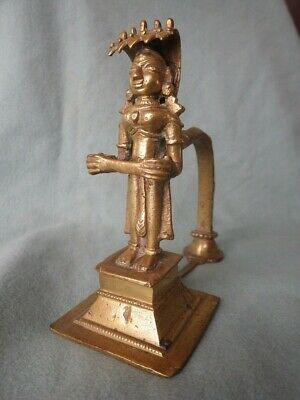 Antique Old India Brass Bronze Deity Buddhist Figure Hindu Vishnu Incense ganesh
