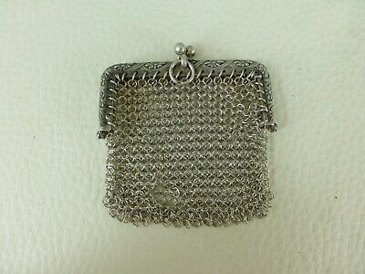 antique fench sterling silver finger chatelaine coin MESH PURSE lot n°10