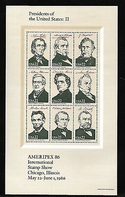 Usa 1986 Mnh Presidents Of The United States Sheet: Ii