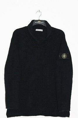 Stone Island Vintage Aw 1994 Shawl Neck Navy Knitted Wool Jumper,Retro,Size:xl
