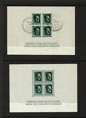 Germany 1937 Culture Fund & Hitler's Birthday sheets mint & used