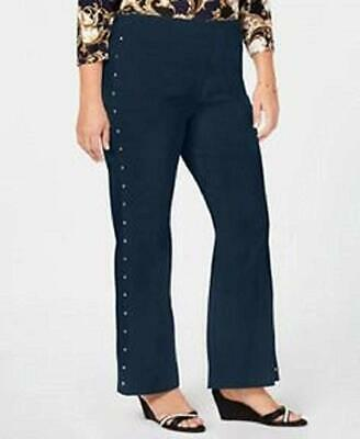 JM Collection Plus Size Tummy Control Pull On Pants Flare Leg Blue 20W NWT