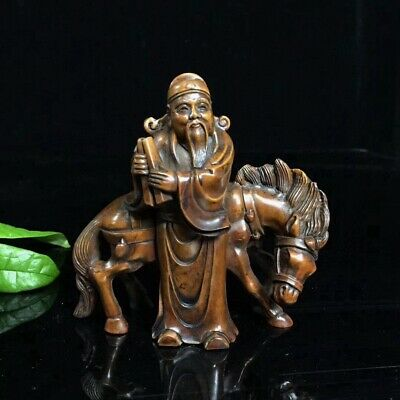 Collectable Old Boxwood Hand-Carved Ancient Officials & Horse Interesting Statue