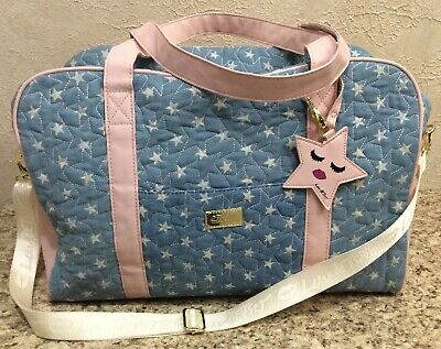 Luv Betsey Johnson Blue Quilted Weekender Travel Bag Duffle Carry-on Luggage