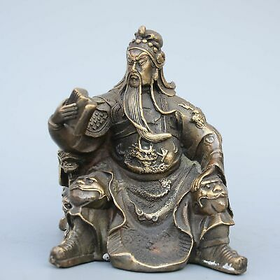 AAA Collectable Old Bronze Hand-Carved Read Book General Guan Yu Precious Statue