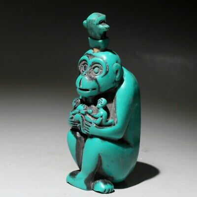 Collectable China Old Turquoise Hand-Carved Monkey Interesting Rare Snuff Bottle