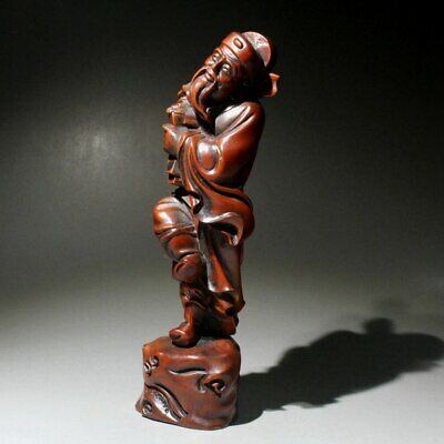 Collectable China Old Boxwood Hand-Carved Ancient Official Interesting Statue